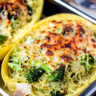 Broccoli & Cheese Stuffed Spaghetti Squash.