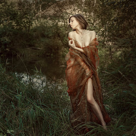Girl and Autumn by Dmitry Laudin - People Fashion ( girl, cloth, nature, grass, autumn, beautiful )