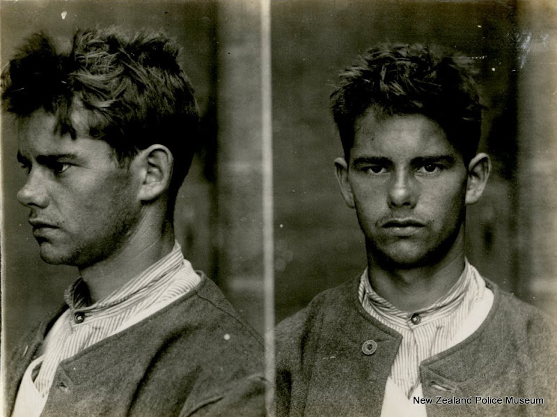 Photo: William Milner alias Millner (b. 1889, New Zealand). Charged with disorderly conduct and sentenced to 14 days in gaol on 23 November 1907 (Auckland). A blacksmith by trade, he had previous charges for trespassing and wantonly disturbing. He is described as having a heart tattooed on his right forearm and a scar on his left elbow. Photograph taken on 29 November 1907.