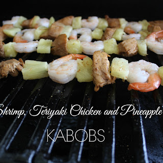 Shrimp, Teriyaki Chicken and Pineapple Kabobs.