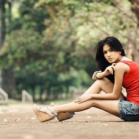 Righ Here Waiting by Arrahman Asri - People Fashion ( fashion, woman, green, beautiful, beauty, garden, people )