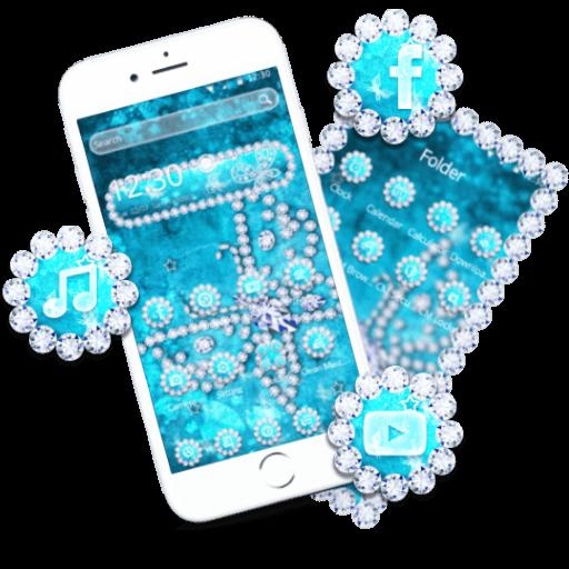 Crystal Blue Butterfly Diamonds Theme