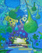 "Photo: ""Gourd Arbor"", acrylic on panel 14"" x 11"", © Nancy Roberts"