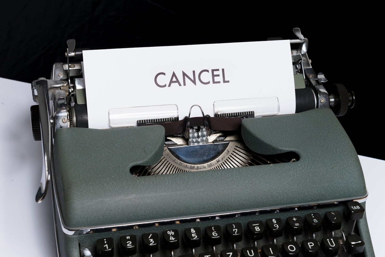 photo of a typewriter with an inscription-cancel, for selling on poshmark