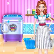 لعبة خالتي تنظف الملابس - العاب تنظيف