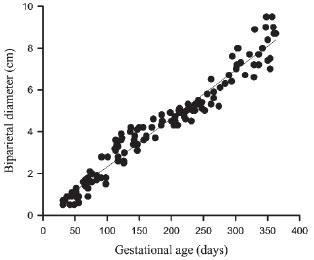 Évolution du diamètre bipariétal foetal du lama