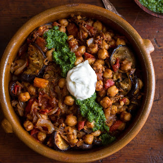 Fried Eggplant With Chickpeas and Mint Chutney