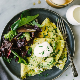 Crab Omelet with Avocado and Herbs Recipe