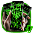 Green Neon Weed Skull Theme