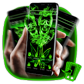 Green Neon Weed Skull Theme