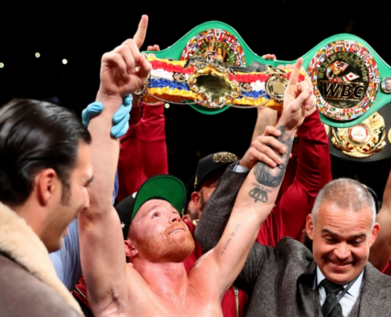 Canelo Alvarez celebrates after the technical knock out of Rocky Fielding in their WBA Super Middleweight title bout at Madison Square Garden on December 15, 2018 in New York City.
