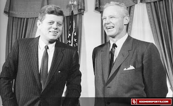 Photo: President Kennedy with Bud Wilkinson, 1961. Wilkinson served on the President's Council on Physical Fitness from 1961 to 1964.