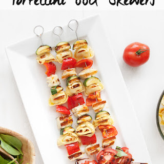Sweet chilli tortellini and vegetable BBQ skewers