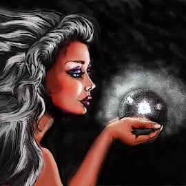 Magic Fae Crystal Globe by Dawn Gagnon - Illustration Sci Fi & Fantasy ( fantasy, fairie, magic, digital artwork, fae, crystal )
