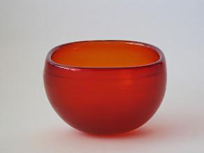 Photo: Venini Inciso red/orange geode/bowl. Engraved signature.