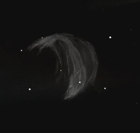 """Photo: Abell 21, aussi appelée """"la méduse"""", dans les Gémeaux. C'est un rémanent de supernovae. Le 6 mars 2011 au T406 à 88X et filtre OIII."""
