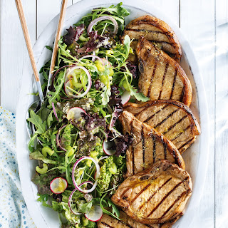 Grilled Pork Chops and Lemon Parmesan Salad.
