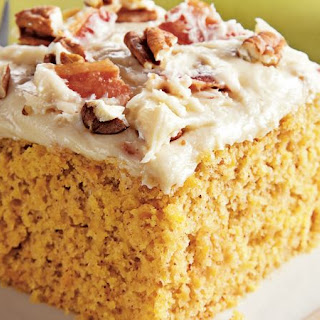 Sweet Potato Sheet Cake with Bacon Cream Cheese Frosting.