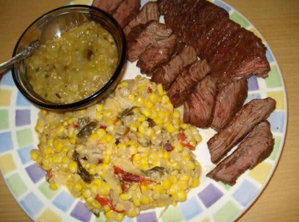 Skirt Steak & Creamed Corn & Poblanos (churasco Con Maiz Y Poblanos) Recipe