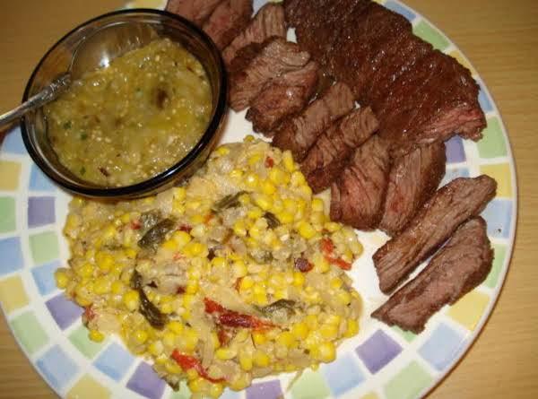 Skirt Steak & Creamed Corn & Poblanos (churasco Con Maiz Y Poblanos)