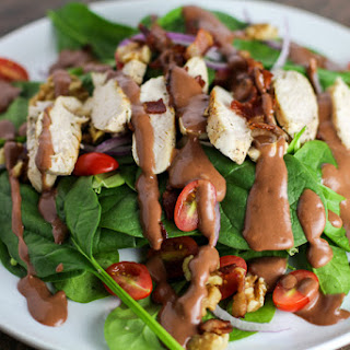 Sauteed Chicken Salad with Raspberry Bacon Vinaigrette.