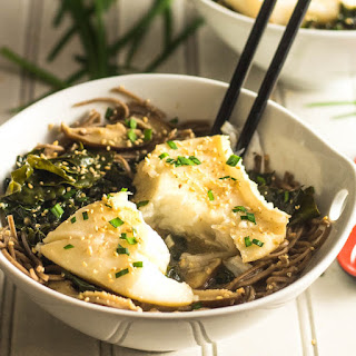 Ginger Mushroom Miso Poached Fish With Kale and Shiitake.