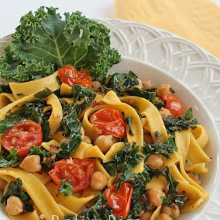 Fettuccini with Kale, Chickpeas, and Tomatoes.