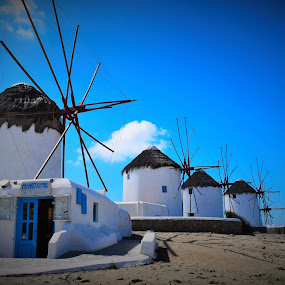 Windmills of Mykonos by Lorna Littrell - Buildings & Architecture Other Exteriors ( mykonos, greece, travel, windmills, travel photography,  )