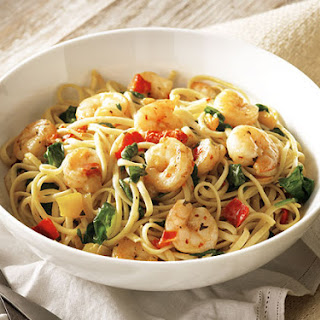 Shrimp Scampi with Roasted Peppers and Spinach Recipe