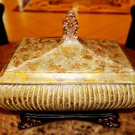 Golden Treasure Box by Cheryl Beaudoin - Artistic Objects Antiques ( lid, treasure, box, object, gold, golden,  )