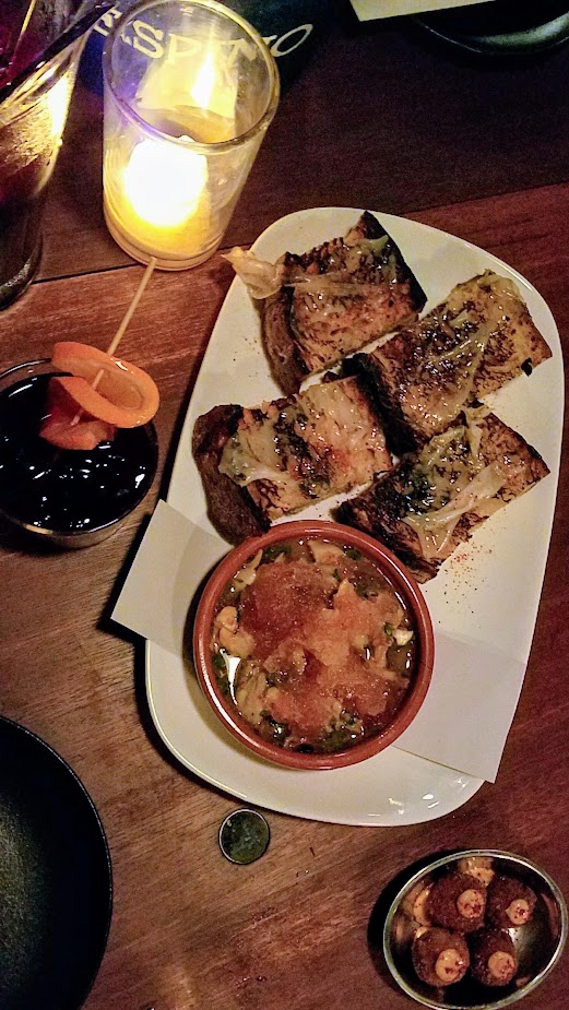 Bar Casa Vale Clam Conserva with Lardo Toast, Fried olives with sobrasada and piri piri mayo