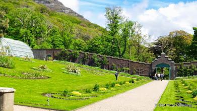 Photo: Luostarin puutarha. Näkymä puistosta. Puutarhaa ympäröi korkea tiiliaita.