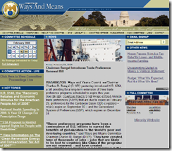 Screenshot of the Ways and Means committee website homepage