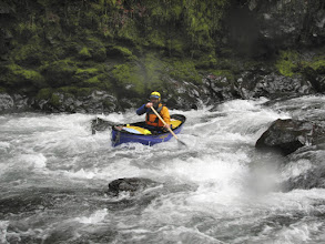 Photo: Bill Jordens of Beaverton paddles a whitewater canoe on the Salmonberry River.