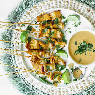 KING SATAY WITH SPICY PEANUT-GINGER SAUCE.