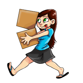 [Image is of a person with long brown hair, pale skin, flip flops, a blue shirt, and a black skirt carrying two boxes. The boxes look like they might fall and the person is nervously sticking their tongue out.]