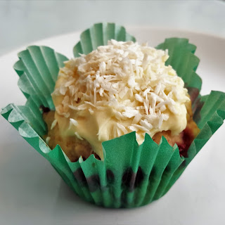 Strawberry Vanilla Muffins with Toasted Coconut Cream Cheese Frostin