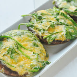 Grilled Spinach Stuffed Portobella Mushroom Tops.