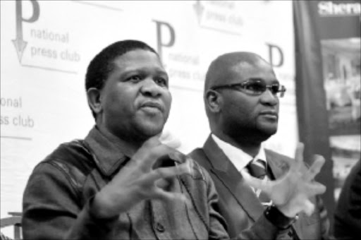 NO TENSION: Deputy Minister of Police Fikile Mbalula, left, with Minister of Police Nathi Mthethwa. Mbalula has strongly denied that there is anything amiss with their relationship. Pic: Peggy Nkomo. Circa Circa 2009. © Sowetan