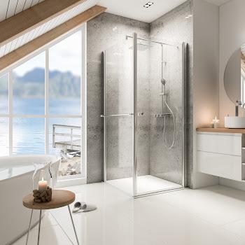 Porte de douche pivotante avec paroi latérale, 80, 90 ou 100 cm