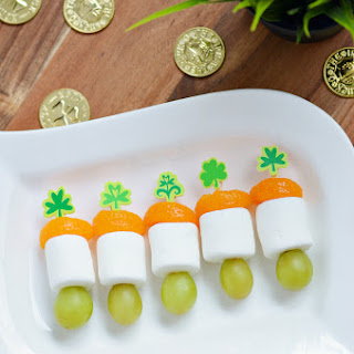 Mini Irish Flag Fruit Skewers for St. Patrick's Day.