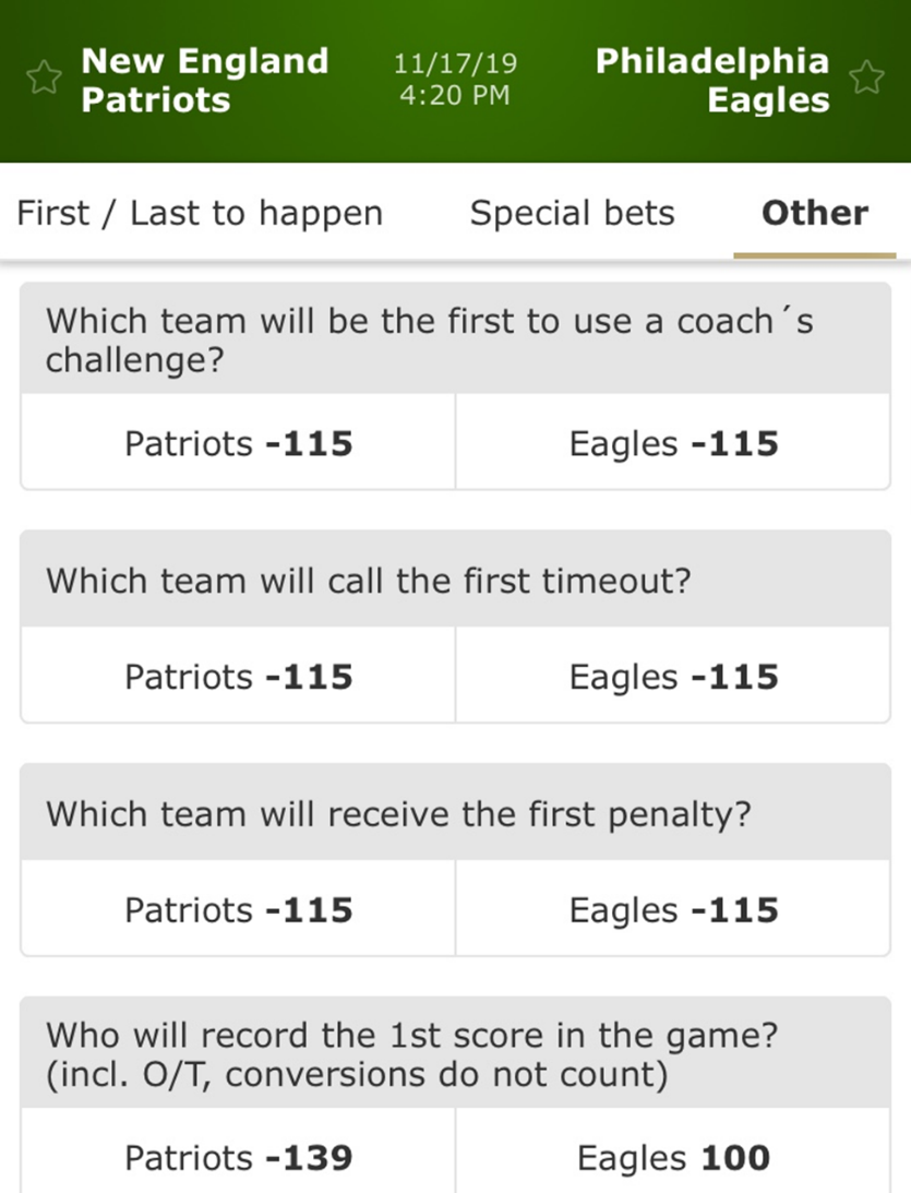 patriots eagles prop bets nfl betmgm