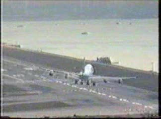 Cross wind landing at Honk Kong Airport