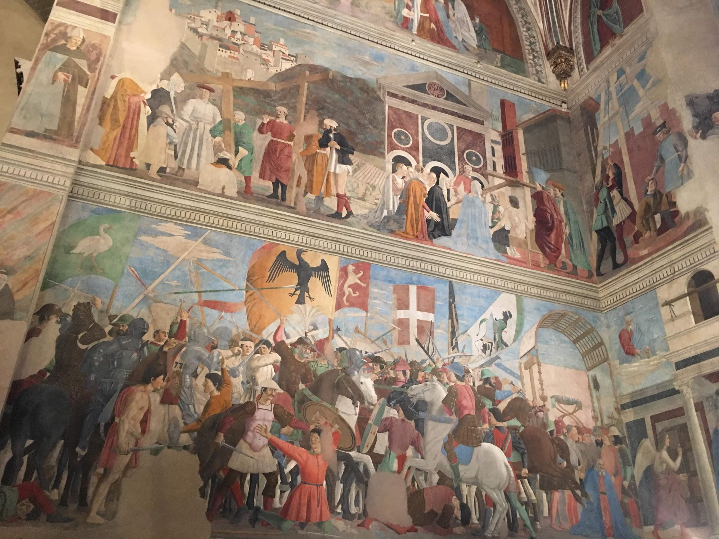 Piero della Francesca, Storie della Vera Croce, basilica di San Francesco, Arezzo [scene Battaglia di Eraclio e Cosroè e Ritrovamento delle tre croci e verifica della Croce]