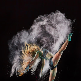 Nina's Kick by William Kendzierski - People Portraits of Women ( dancephotography, dancing, model, dance costume, portraits of women, high speed photography, acrobat, dance, dancer )