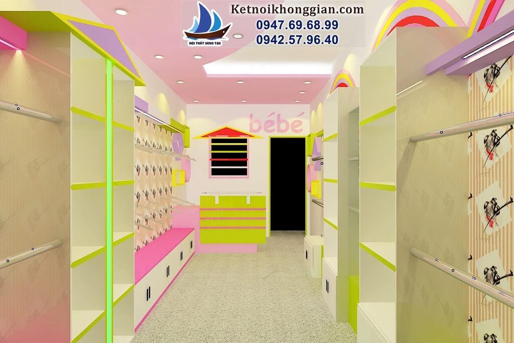 thiết kế shop thời trang trẻ em diện tích nhỏ hẹp