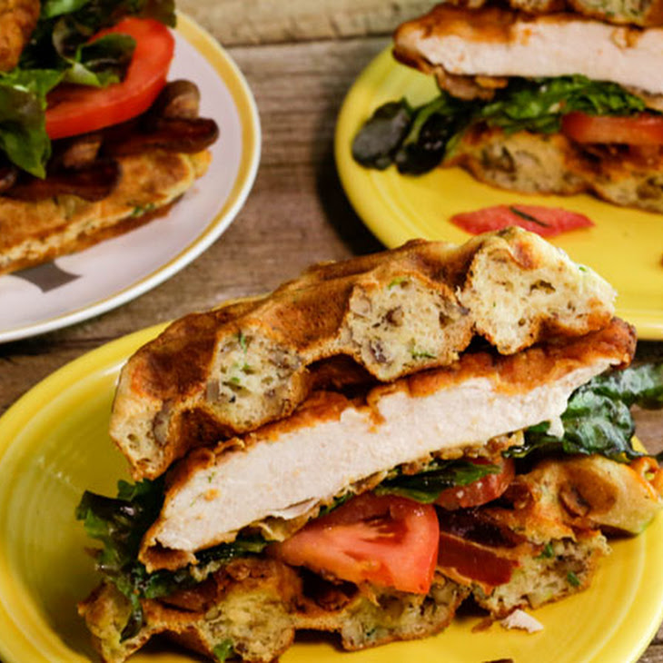 Spicy Chicken and Cheddar Waffle Sandwiches