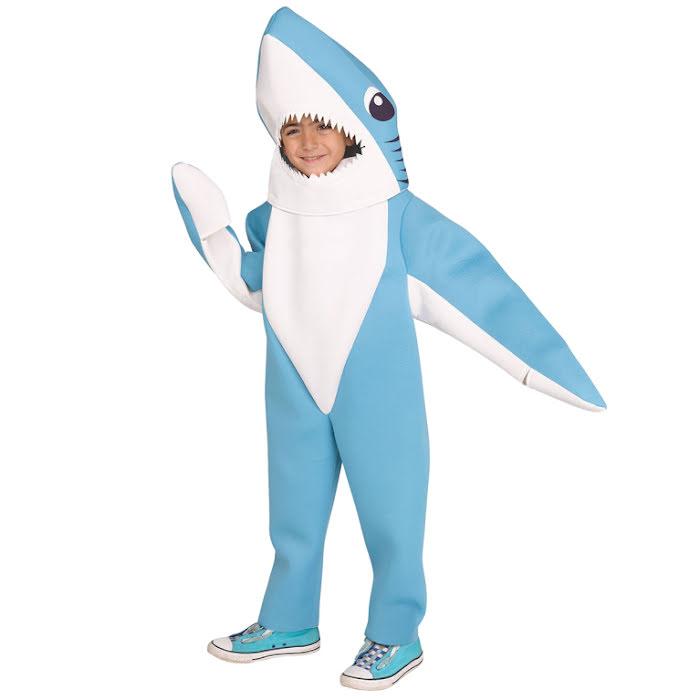 maskeraddräkt som ser ut som en haj, barnstorlek