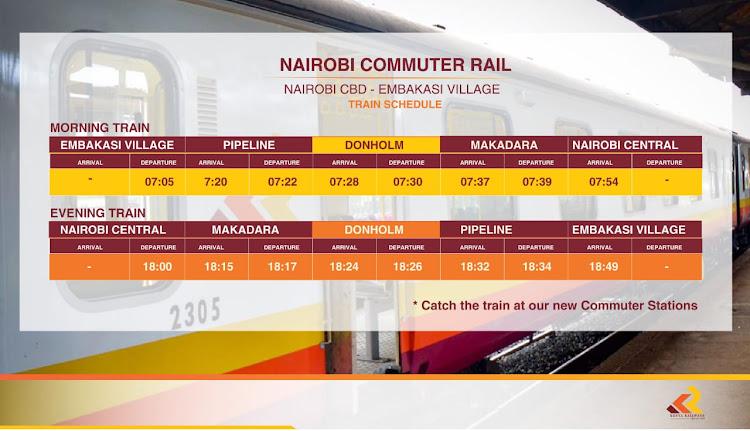 Nairobi Commuter Service schedule