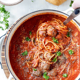 One Pot Spaghetti and Meatball Soup.